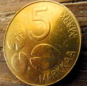 5 Марок, 1993 года, Финляндия, Монета, Монеты, 5 Markkaa1993, Suomi, Finland,Water lily leaves,Листья водяной лилии,Dragonfly,Стрекоза на монете, Seal,Тюлень на монете.