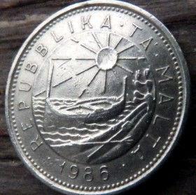 10 Центов, 1986 года, Мальта, Монета, Монеты, 10 Cents 1986, Malta,Fauna, Фауна, Fish,Рыба на монете,Sea, Море,Човен,Boat,Лодка, Sun,Cолнцена монете.