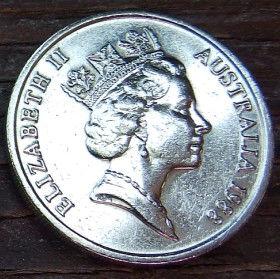 10 Центов, 1988 года,Австралия, Монета, Монеты, 10 Cents1988, Australia,Lyrebird,Лирохвост на монете, Королева Elizabeth II, Елизавета IIна монете, Третий портрет королевы.