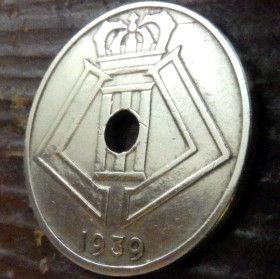 25 Сантимов, 1939 года, Королевство Бельгия, Монета, Монеты, 25 Centimes 1939, Belgium, Belgique, Belgie,Фауна, Лев, Lion, Монета с отверстием посередине, Корона, Crown.