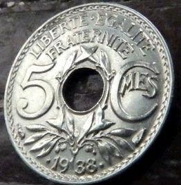 5 Сантимов, 1938 года, Франция,Монета, Монеты, 5Centimes 1938,REPUBLIQUE FRANСAISE, France,Helmet,Шлем, Рослинний орнамент,растительный орнамент,floral ornament на монете.