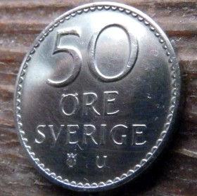 50 Эре, 1973 года, Швеция, Монета, Монеты, 50 Ore 1973, Sverige, Sweden,Crown,Корона,Monogram, ВензельКороляГустава VI Адольфа на монете.