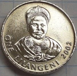1 Лилангени, 2002 года,Свазиленд,Эсватини, Монета, Монеты, 1 One Lilangeni 2002, Swaziland,Eswatini,Жінка, Woman, Женщина на монете, King Mswati III, Король Мсвати IIIна монете.