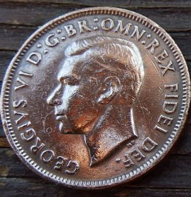 1/2 Пенни, 1950 года,Австралия, Монета, Монеты, HalfPenny 1950, Australia,Kangaroo,Кенгуру на монете, КорольGeorgivs VI,Георг VI на монете.