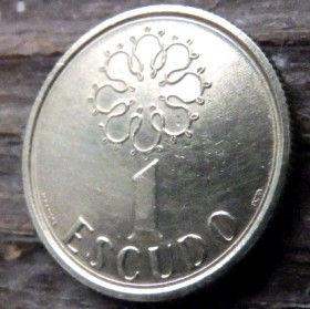 1 Эскудо, 1988 года, Португалия, Монета, Монеты, 1 Escudo 1988, Republica Portuguesa,Portugal,Квітковий орнамент,Цветочный орнамент,floral ornament на монете,Coat of Arms,Герб,Вітрильний вузол,Sailing knot, Парусный узелна монете.