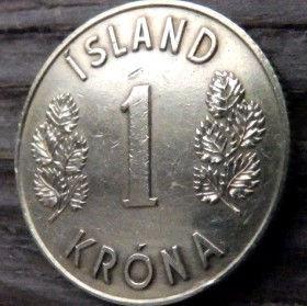1 Крона, 1973 года, Исландия, Монета, Монеты, 1 Krona 1973, Island,Iceland, Flora,Флора,Листя, Leaf, Листья на монете, Герб,Coat of arms, Bull, Бык,Vulture,Гриф,Dragon, Дракон,Giant, Великан на монете.