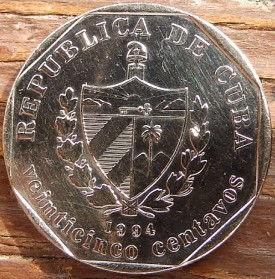 25 Сентаво, 1994 года, Куба, Монета, Монеты, 25 Veinticinco Centavos 1994, Republica De Cuba,Trinidad town,ГородТринидад на монете, Coat of arms of Cuba, Герб Кубы на монете.