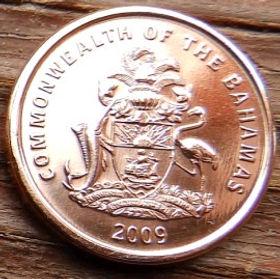 1 Цент, 2009 года, Багамские Острова, Монета, Монеты, 1Cent2009, Commonwealth of The Bahamas,Фауна, Морська зірка, Fauna,Starfish, Фауна,Морская звезда на монете, Coat of arms of the Bahamas, ГербБагамских Острововна монете.