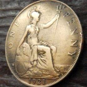 1 Пенни, 1921 года,Великобритания, Монета, Монеты, One Penny 1921, Море, Sea, Жінка воїн,Woman warrior, Женщина воин на монете, КорольGeorgivs V,Георг V на монете.
