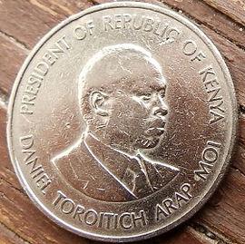 1 Шиллинг1980 года, Кения,Монета, Монеты, 1 OneShilling 1980, Republic of Kenya,Coat of arms of Kenya,Герб Кении на монете, President of Kenya Daniel Toroitich Arap Moi,Президент Кении ДаниэльАрап Мои на монете.