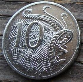 10 Центов, 2004 года,Австралия, Монета, Монеты, 10 Cents2004, Australia,Lyrebird,Лирохвост на монете, Королева Elizabeth II, Елизавета IIна монете, Четвертый портрет королевы.