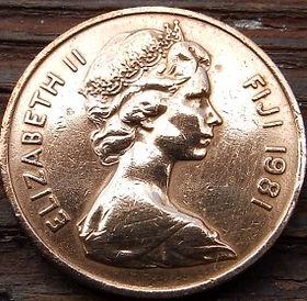2 Цента, 1981 года,Фиджи, Монета, Монеты, 2Cents1981, Fiji,Palm fan,Пальмовое опахало на монете, Королева Elizabeth II, Елизавета IIна монете, Второй портрет королевы.