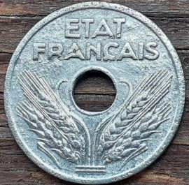 20 Сантимов, 1941 года, Франция,Монета, Монеты, 20 Vingt Centimes 1941,Etat Francais, France,Oak leaves,Дубовые листья на монете,Spikelets, Колоскина монете.