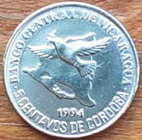 5 Сентаво, 1994 года,Никарагуа, Монета, Монеты, 5Centavos 1994,Republica de Nicaragua,Птах у польоті, Контури території Нікарагуа,Bird in flight, Contours of the territory of Nicaragua,Птица в полете, Контурытерритории Никарагуана монете, Coat of arms ofNicaragua,ГербНикарагуана монете.