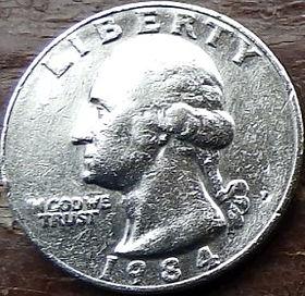 1/4 Доллара, 1984 года,Соединенные Штаты Америки, Монета, Монеты, Quarter Dollar1984,The United States of America,Fauna, Eagle, Фауна, Орелна монете, President George Washington, Президент Джордж Вашингтонна монете.