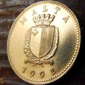 1 Цент, 1991 года, Мальта, Монета, Монеты, 1 Cent 1991, Malta,Fauna, Фауна, Ermine,Горностайна монете,Coat of arms,Гербна монете.