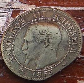 2 Сантима, 1855 года, Франция,Монета, Монеты, 2 Deux Centimes 1855,EMPIRE FRANCAIS, France,Coat of arms,Герб, Fauna, Фауна,Пташка, Bird,Птица, Eagle, Орел на монете, Император Наполеон III на монете.