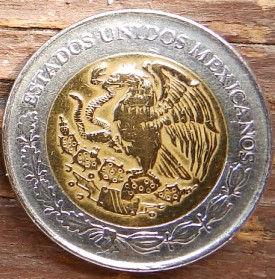 1 Новыйпесо, 1993 года,Мексика, Монета, Монеты, 1 Peso 1993, EstadosUnidos Mexicanos,Оrnament,Орнамент на монете,Coat of arms of Mexico, Герб Мексикина монете.