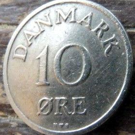 10 Эре, 1950года, Дания, Монета, Монеты, 10 Ore 1950, Danmark,Рослинний орнамент,растительный орнамент,floral ornament, Crown,Корона,Monogram, ВензельКороляФредерика IX на монете.
