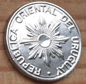5 Песо,1989 года, Уругвай, Монета, Монеты, 5 Pesos 1989, Republica Oriental Del Uruguay,Flora, Флора,Рослинний орнамент,Растительный орнамент, Floralornamentнамонете, Сонце,Sun,Солнцена монете.