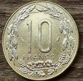 10 Франков, 1975 года, BEAC, Монета, Монеты, 10 Francs 1975, Banque des États de l'Afrique Centrale,Рослинний орнамент, Floral ornament, Растительный орнамент на монете, Fauna, Antelope, Фауна, Антилопа на монете.