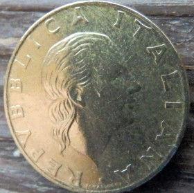 200 Лир, 1993 года, Италия, Монета, Монеты, 200 Lire1993, Italiana, Italy, Італійська військова авіація,Italian military aircraft, Итальянская военная авиация,Жінка, Woman, Женщинана монете.