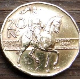 20 Крон, 2000 года,Чехия,Монета, Монеты,20 Koruna2000,Ceska Republika, The image of St. Wenceslas on horseback, Образ святого Вацлава на коне на монете,Coat of Arms, Герб,Fauna, Фауна,Lion, Левна монете.