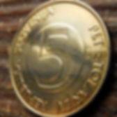 5 Толаров, 2000 года,Словения,Монета, Монеты,5 PetTolarjev 2000, Republika Slovenija,Fauna, Фауна, Alpine ibex, Альпийский козерогна монете.