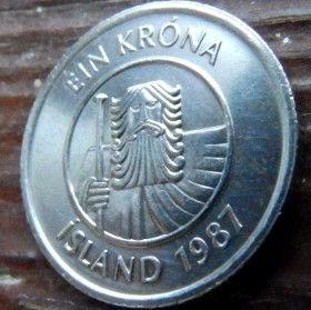 1 Крона, 1987 года, Исландия, Монета, Монеты, 1 Ein Krona 1987, Island,Iceland, Fauna,Фауна,Риба, Fish, Рыбана монете,Giant, Великан на монете.