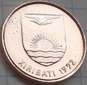 1 Цент, 1992 года, Кирибати, Монета, Монеты, 1 Cent 1992, Kiribati, Fauna,Frigate bird, Фауна, Птица Фрегат на монете, Coat of arms of Kiribati, Герб Кирибати на монете.