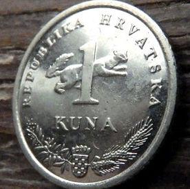 1 Куна, 2009 года,Хорватия,Монета, Монеты,1 Kuna 2009, Republika Hrvatska, Coat of Arms,Герб,Рослинний орнамент,растительный орнамент,floral ornament, Fauna, Фауна,Marten, Куницана монете, Slavuj,Nightingale,Соловейна монете.