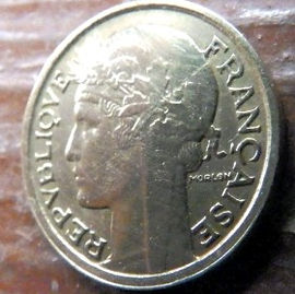 50 Сантимов, 1941 года, Франция,Монета, Монеты, 50Centimes 1941,RepubliqueFrancaise, France,Ріг достатку, Cornucopia,Рог изобилия на монете,Girl,Девушкана монете.