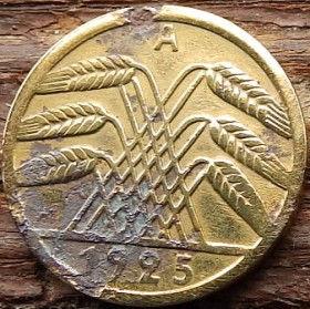 5 Пфеннигов, 5 Рейхспфеннигов 1925 года, Германия, Німеччина,Монета, Монеты, 5 Reichspfennig 1925,Deutsches Reich,Oak leaves,Дубовые листья на монете,Spikelets, Колоскина монете.