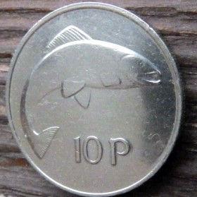 10 Пенсов,1976 года, Ирландия, Монета, Монеты,Ireland, 10 P,Pence 1976, Eire, Риба, Fish, Рыбана монете,Harp,Арфа на монете.