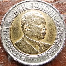 20 Шиллингов 1998 года, Кения,Монета, Монеты, 20 Twenty Shillings 1998, Republic of Kenya,Coat of arms of Kenya,Герб Кении на монете, President of Kenya Daniel Toroitich Arap Moi,Президент Кении ДаниэльАрап Мои на монете.