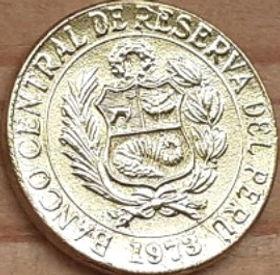 5 Сентаво,1973 года, Перу, Монета, Монеты, 5 Centavos 1973, Peru,Флора, Квітка,Flora, Flower,Флора, Цветокна монете,Coat of arms of Peru,Герб Перу на монете.