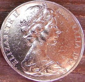 20 Центов, 1981 года,Австралия, Монета, Монеты, 20 Cents1981, Australia,Platypus,Утконос на монете, Королева Elizabeth II, Елизавета IIна монете, Второй портрет королевы.