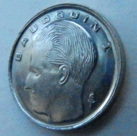 1 Франк, 1989 года, Королевство Бельгия, Монета, Монеты, 1 Franc 1989, Belgium, Belgique, Belgie, Корона, Crown, КорольБодуенIна монете.