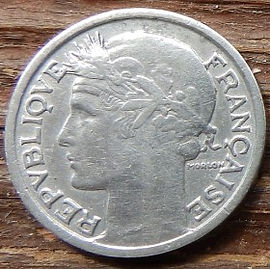 50 Сантимов, 1945 года, Франция,Монета, Монеты, 50Centimes 1945,RepubliqueFrancaise, France,Ріг достатку, Cornucopia,Рог изобилия на монете,Girl,Девушкана монете.