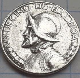 1/10Бальбоа, 1973 года,Панама, Монета, Монеты, 1/10 UnDecimo De Balboa 1973,Republica de Panama, Vasco Nunez de Balboa, Васко Нуньес де Бальбоа на монете,Coat of arms of Panama,Герб Панамына монете.