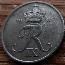 5 Эре, 1951года, Дания, Монета, Монеты, 5 Ore 1951, Danmark, Crown,Корона,Monogram, ВензельКороляФредерика IX на монете.