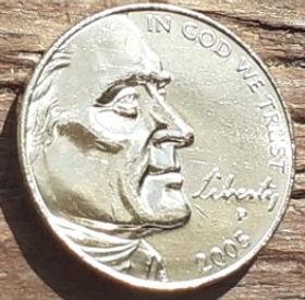 5 Центов, 2005 года,Соединенные Штаты Америки, Монета, Монеты, 5 Five Cents 2005,The United States of America,Фауна, Бізон, Fauna, Bison,Фауна, Бизонна монете, President Thomas Jefferson, Президент Томас Джефферсонна монете.