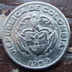 10 Сентаво,1959 года, Колумбия, Монета, Монеты, 10 Diez Centavos 1959, Republica de Colombia, Індіанець,Indian,Индеец на монете, Coat of arms of Colombia,Герб Колумбии на монете.