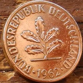2 Пфеннига,1962 года, ФРГ, Германия, Німеччина,Монета, Монеты, 2 Pfennig 1962,BUNDESREPUBLIK DEUTSCHLAND,Spikelets, Колоскина монете,Дубовые листья на монете.
