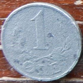 1 Эре, 1943 года, Дания, Монета, Монеты, 1 Ore 1943, Danmark,Рослинний орнамент,растительный орнамент,floral ornament, Crown,Корона,Monogram, ВензельКороляКристиана X на монете.