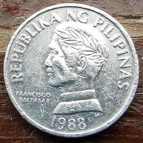 10 Сентимов, 1988 года, Филиппины,Монета, Монеты, 10 Sentimos 1988,Republika ng Pilipinas,Fish,Pandaka pygmaea, Рыба,Пандака карликоваяна монете, Francisco Baltasar,Франциско Бальтазарна монете.