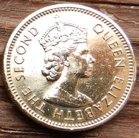 5 Центов, 1965 года, Британские Карибские территории, Монета, Монеты, 5 Five Cents1965, British Caribbean Territories, Корабель, Вітрильник,Ship, Sailboat,Корабль, Парусник на монете,Королева Elizabeth II, Елизавета IIна монете, Второй портрет королевы.