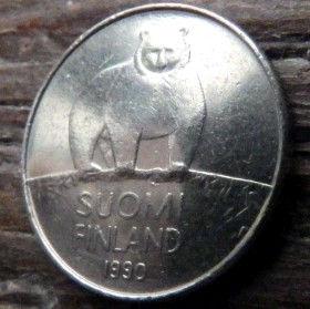 50 Пенни, 1990 года, Финляндия, Монета, Монеты, 50 Pennia 1990,Suomi, Finland,Зірки,Stars, Звезды на монете,Fauna, Фауна, Білий ведмідь,Polar bear,Белый медведь на монете.
