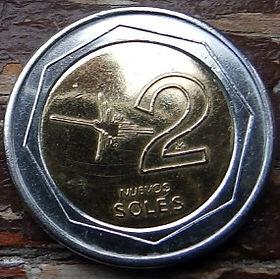 2Новых Соля,2004 года, Перу, Монета, Монеты, 2 NuevosSoles 2004, Peru,Coat of arms of Peru,Герб Перу на монете.