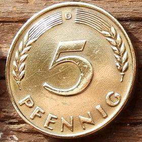 5 Пфеннигов,1967 года, ФРГ, Германия, Німеччина,Монета, Монеты, 5 Pfennig 1967,BUNDESREPUBLIK DEUTSCHLAND,Spikelets, Колоскина монете,Дубовые листья на монете